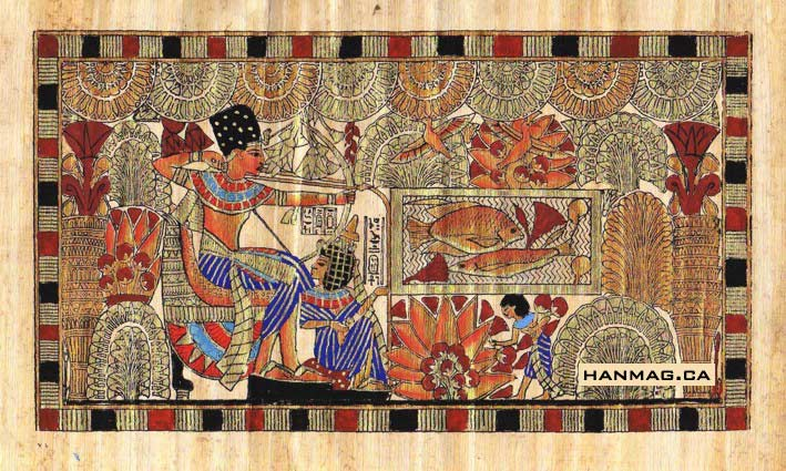 Egyptian-Papyrus-Painting-King-Tut-and-his-Wife-Hunting-7X9-034-Hand-Painted-39