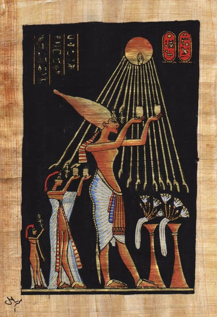 Egyptian-Papyrus-Painting-Akhenaton-amp-his-family-offer-7X9-034-Hand-Painted-50