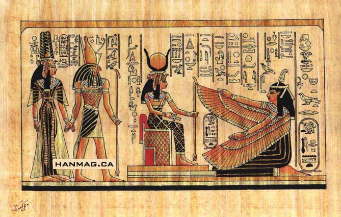 Egyptian Papyrus Painting - Isis and Winged Maat 7X9 ...