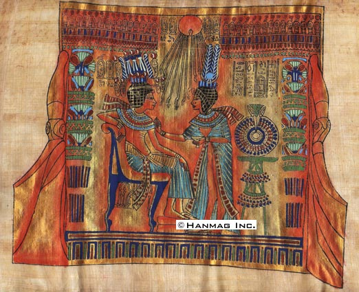 Egyptian-Papyrus-Painting-King-Tut-amp-his-wife-8X12-034-Hand-Painted-38