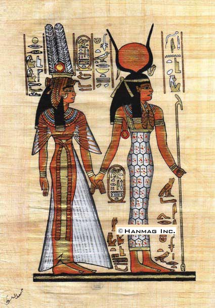 Egyptian-Papyrus-Painting-Isis-and-Nefertary-8X12-034-Hand-Painted-53