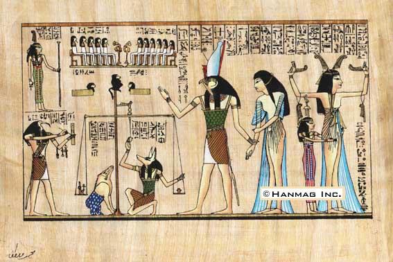 "Egyptian Papyrus Painting The Judgment 8x12"" Hand Painted Description"