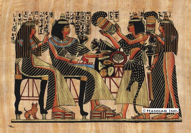 Egyptian papyrus painting party and the cat 8x12 hand for Egyptian mural paintings